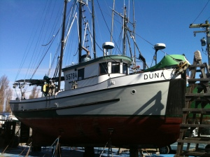 F/V Duna hauled out in the boatyard